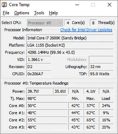 Download CoreTemp 1.16 best CPU temperature monitor