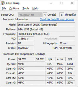Download CoreTemp 1.16 in Windows 10
