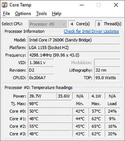 Download CoreTemp 1.16 in Windows 10