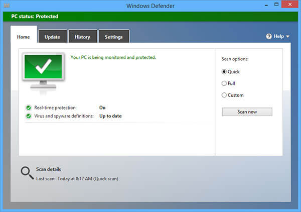 Windows 8 Buil-in Antimalware software