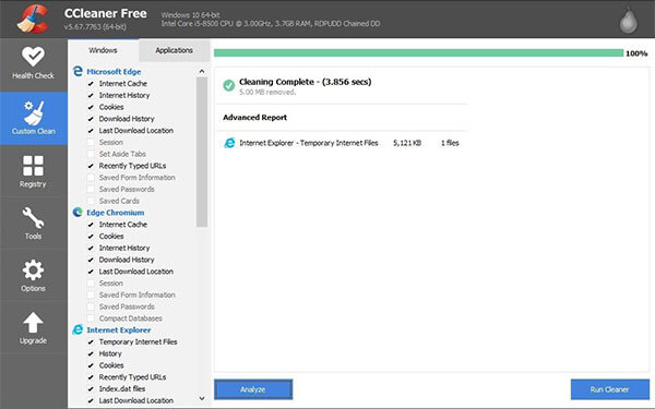 download Ccleaner to delete history with in a laptop